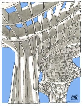 metropol parasol/ sevilla/ 2012/ 10x15 cm/ oostindische inkt en digitale bewerking