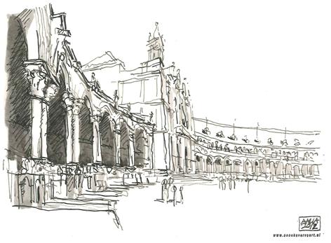 plaza espana/ sevilla/ 2012/ 15x10 cm/ oostindische inkt