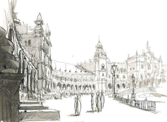 plaza espana/ sevilla/ 2012/ 40x28 cm/ oostindische inkt
