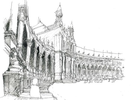 plaza espana/ sevilla/ 2012/ 40x25 cm/ oostindische inkt